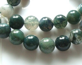 """1/2 Strand, 8"""", 19 beads, 10 mm green moss agate natural Smooth round Beads, B-0028"""