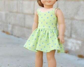Green/Blue Polka Dot Wrap Dress for American Girl Dolls