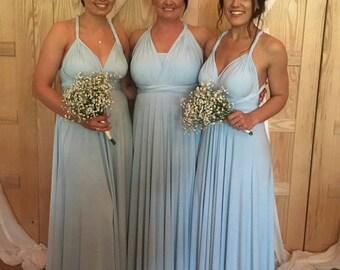 Infinity Multiway Convertible Twist Wrap Dress Bridesmaid Wedding Prom Evening Sky Blue