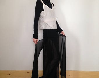 layered wide leg chiffon pants (m)