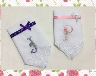 Personalised embroidery embroidered initial monogram handkerchief Hankie