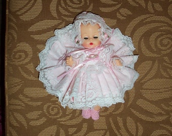SALE FREE SHIP. / Simply Stunning Stamped Ginette Doll ( Ginny's prior) with Ginette baby bottle