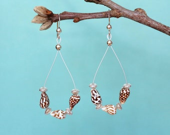 Sterling Silver Shell Earrings, Cowrie Shell Earrings, Silver Dangle Earrings, Shell Dangle Earrings, Shell Hoop Earrings, Front Facing Hoop
