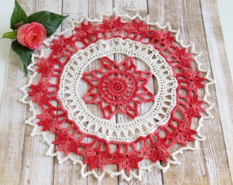 Ivory and shaded red crochet doily, Round crochet, 10 inch doily, Handmade crochet