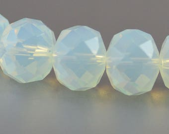 Chinese Crystal Large Rondelles Opalite Glass Pale Blue Opal 10x14mm