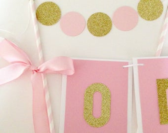 Pink and gold cake topper, Bridal shower cake topper, birthday and wedding cake bunting