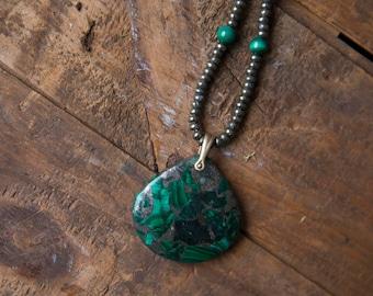 Malachite Pyrite Pendant on Pyrite Necklace with Malachite Stations