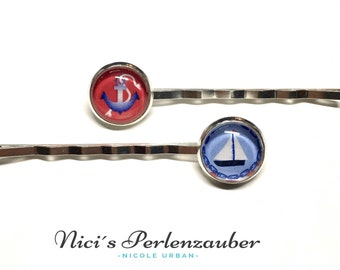Hair grips anchor boat with cabochon silver 12 mm Barrette maritime Haarschmuck handmade