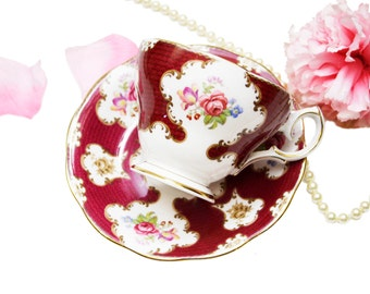 Vintage Queen Anne Teacup Lady Eleanor Red Floral Teacup English Bone China Shabby Chic