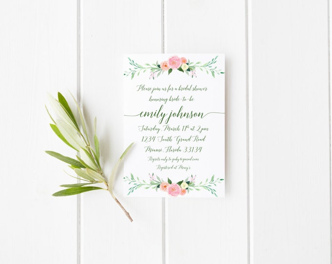 Floral Bridal Shower Invitation, Pink and Green Garden Calligraphy Wedding Invite, Printable Bridal Shower Invitation, Classic Spring