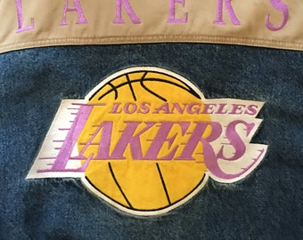 Vintage 90s Los Angeles Lakers Lee NBA Denim Jacket - Large