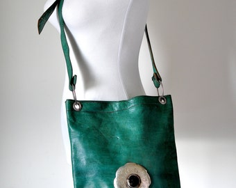 vintage 70's boho green genuine leather crossbody bag with Tibetan silver plaque & oxbone accessories, boho, hippie, waldorf, hipster, vrev