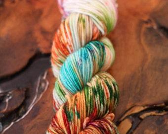 "Hand Dyed ""Spring Tulips"", DK, Super Wash Merino, Knitting, Crochet"