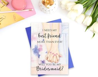 Will You be my Bridesmaid card, PRINTABLE bridesmaid card, Bridesmaid proposal card, Bridesmaid invitation, Floral bridesmaid card