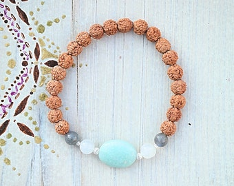 Bracelet beaded/Amazonite/MoonStone/Labradorite/Rudraksha/Yoga/Meditation/Gemstones/Silver