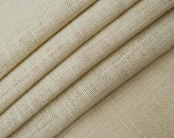 "Beige Jute Fabric, Home Decor Burlap Fabric, Beige Burlap, Natural Fabric, Sewing Fabric, 51"" Inch Wide Jute Fabric By The Yard ZJC1P"