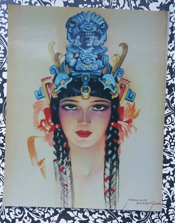 Vintage Calendar Art : Vintage calendar art s aztec mexico xiuhcoatl