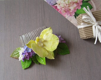 Beach wedding hair accessories Tropical flower comb Floral hair comb Tropical hair flower Yellow orchid hair clip Orchid hair comb wedding