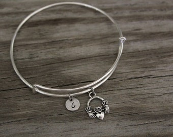 Claddagh Bangle - Irish Bangle - Irish Jewelry - I/B/H