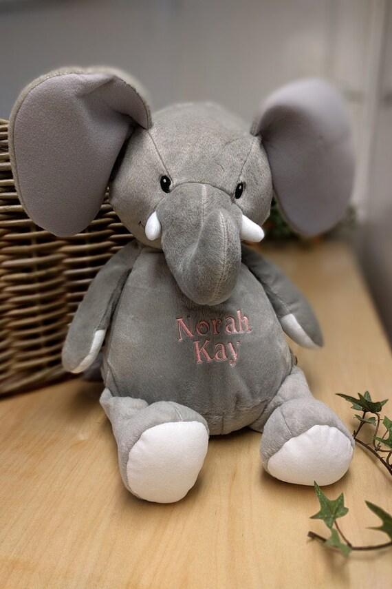 Elephant stuffed animal personalized plush embroidered