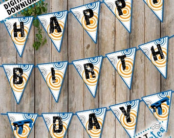 Nerf Party Banner, Nerf Gun Party Decor, Dart War Banner, Nerf Birthday Party Pennant, Nerf Happy Birthday Sign, Nerf Gun Decor | PRINTABLE