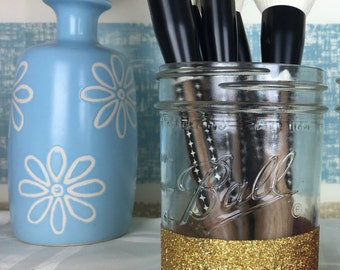 Glitter Mason Jar Makeup Brush Holder