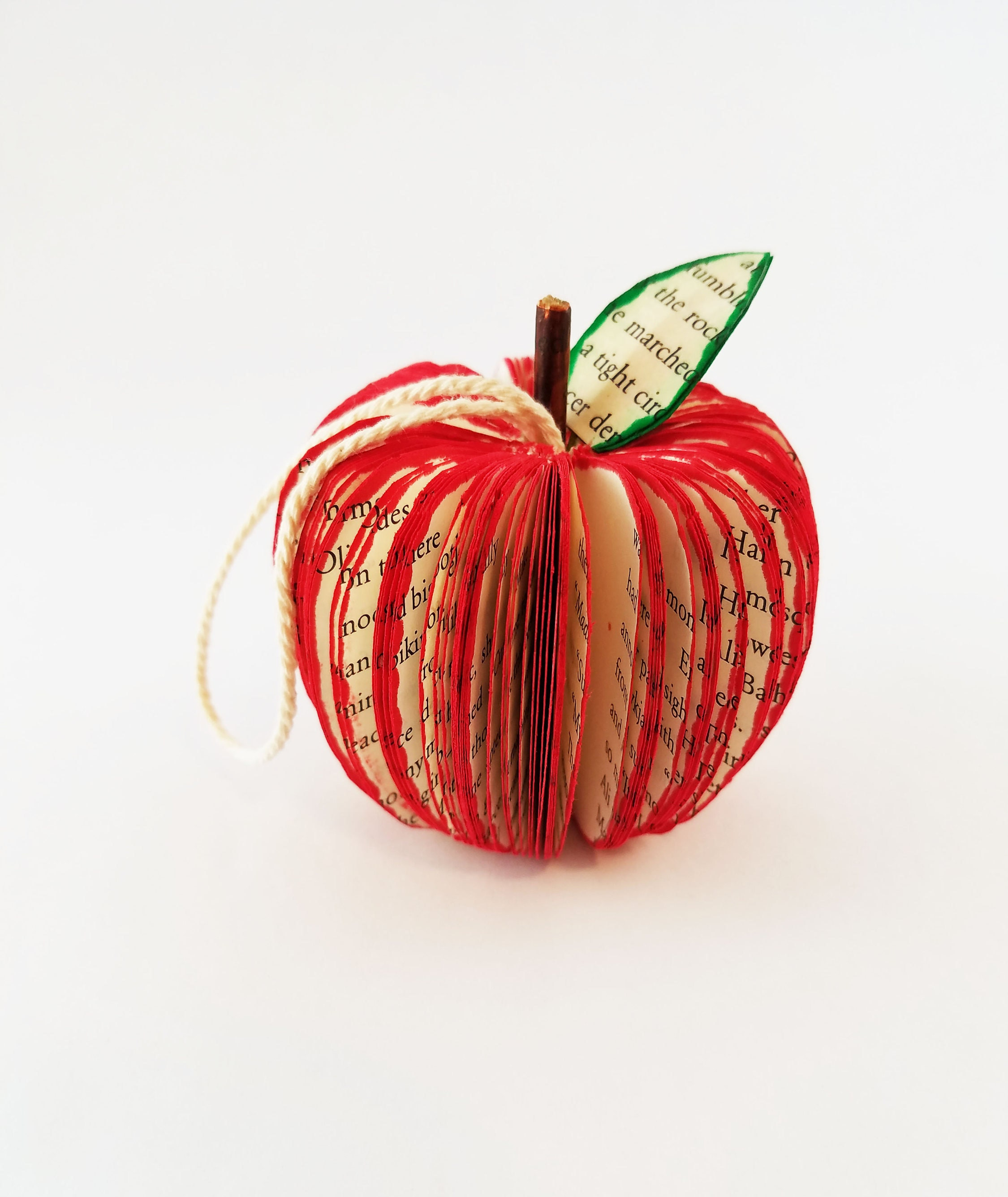 Book Ornament Apple Ornament Teacher Gift 3D Book Art