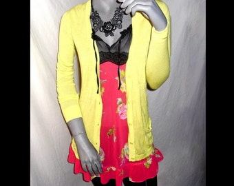 GAP Solid Neon Yellow/Green V-Neck Front Pockets Long Sleeve Button Down Cardigan Sweater M