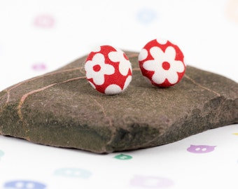Floral earrings, fabric earrings, funky earrings, covered buttons, gift for girls