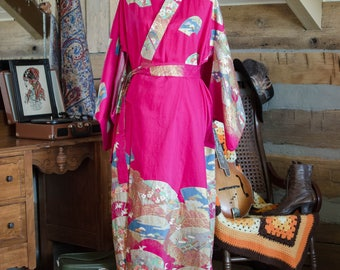 Vintage magenta cotton kimono