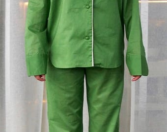 Riviera Green Cotton Voile Pyjamas