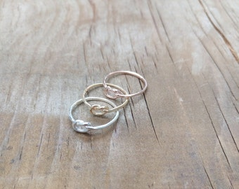 Love Knot Ring Solid Gold 10K 14K 18K Maid of Honor Gift Ring , Gold Knot Ring, Love Knot Jewelry, Friendship Ring Bridesmaid gift gold ring