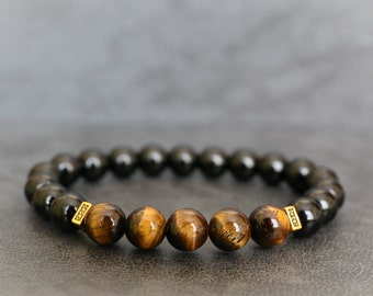 Mens Beaded Bracelet Tiger Eye Bracelet Black Onyx Bracelet Natural Stone Bracelet Gemstone Bracelet Healing Bracelet Stretch Bracelet