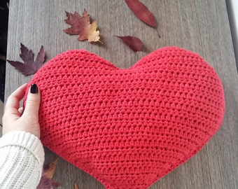 Crochet heart shaped pillow great Valentine's day gift--100% cotton