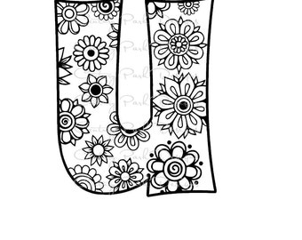 Letter U Alphabet Flowers SVG / JPEG / PNG /pdf / use with Silhouette Studio and Cricut Design Space - Commercial Use - Adult Coloring Page