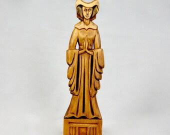 Virgin Mary Statue Vintage 1930s Catholic Art Gothic Oak Wood Hand Carved Religious Figurine Holy Madonna