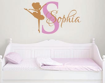 Ballerina WALL DECAL GIRL Name Dancing Nursery Ballet Dance - Custom vinyl wall decals dance