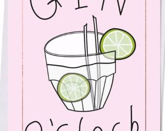 Gin o'clock postcard