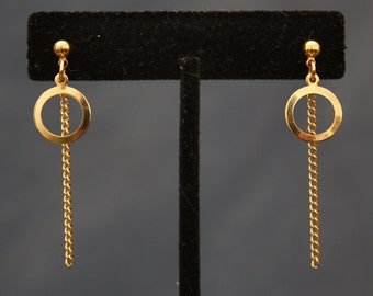 up-cycled gold ring and chain earrings