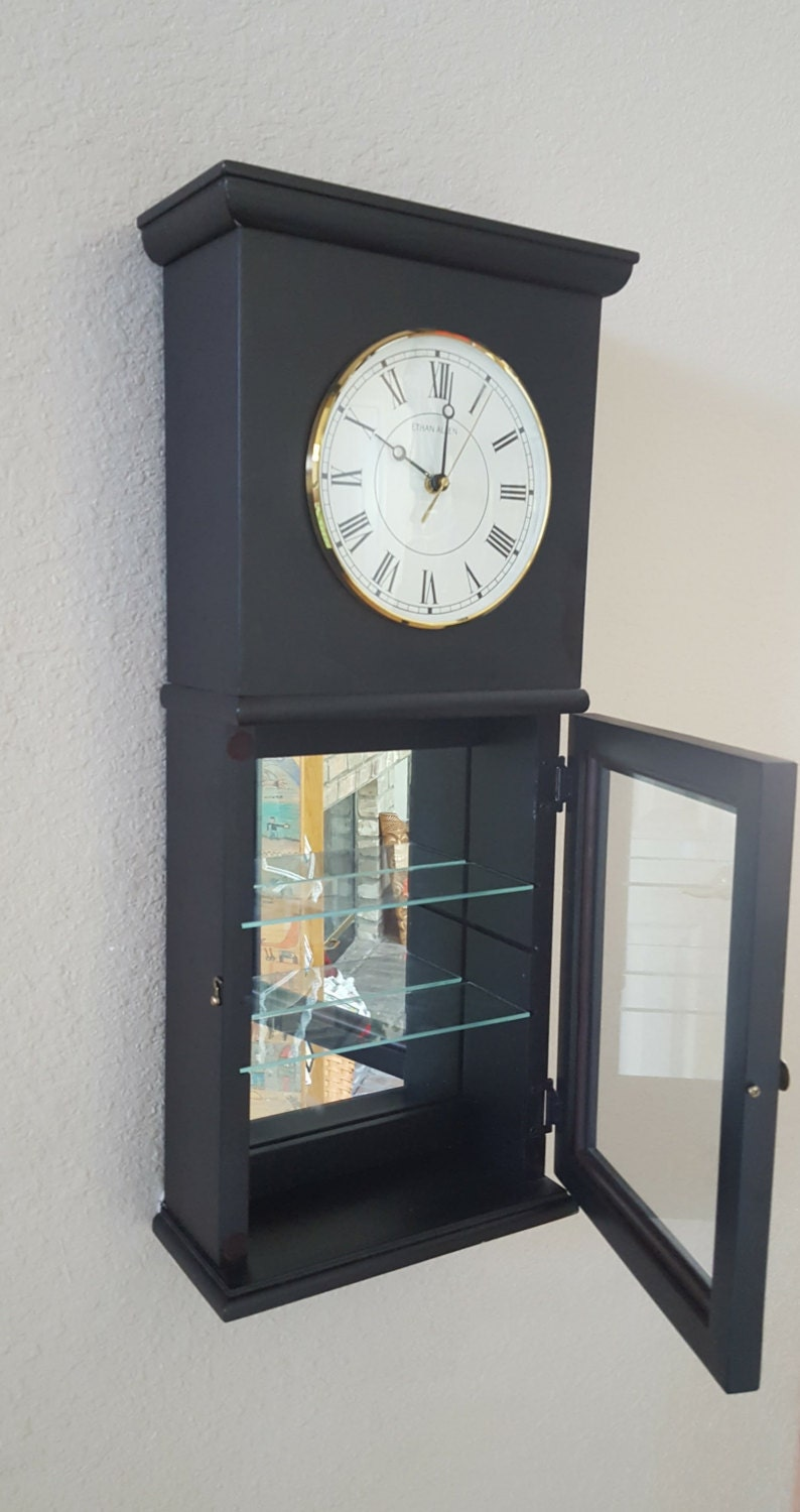 Vintage Ethan Allen Wall Clock With Mirrored Curio Cabinet