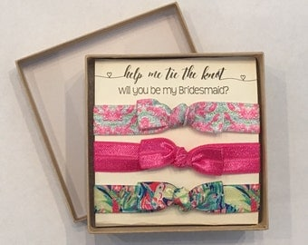 Help Me Tie the Knot Will You Be My Bridesmaid hair ties Lilly Pulitzer Inspired Lobstah Roll Casa Banana