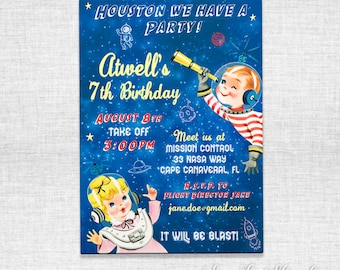 Space party invitations, envelopes and liners