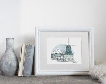 Lynden Washington, City Illustration, wall art, city art