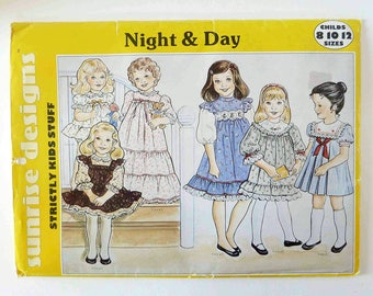 1980s Sewing Pattern - Girl's Dress, Nightgown, Baby-doll - Size 8,10,12 - Sunrise Designs C158 - 1980s Girl's Fashion - Lacy Dress