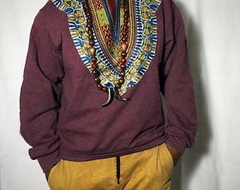 Dashiki Fleece -  Burgundy Long sleeve