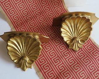 Pair Gold Florentine Wall Shelf Sconces Italian Shell Palm Beach Decor-Made In Italy
