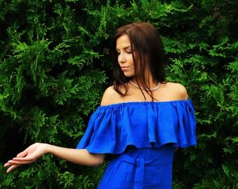 Ruffle linen dress, cobalt blue washed linen dress, off the shoulder dress