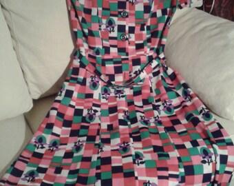 Vintage 60s gorgeous multi-coloured mid-season dress