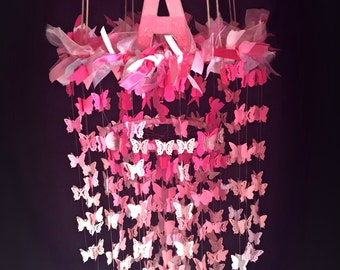 Butterfly Mobile, Butterfly Chandelier Mobile - Nursery Mobile, Butterfly Chandelier, Baby Girl Mobile, Custom Colors, baby mobile girl
