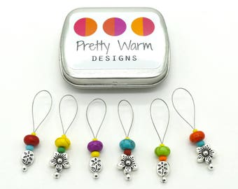 Silver Flowers Knitting Markers - Rainbow Stitch Markers - Stitchmarkers - Snag Free Stitch Markers - Beaded Stitch Markers - Stitch Marker